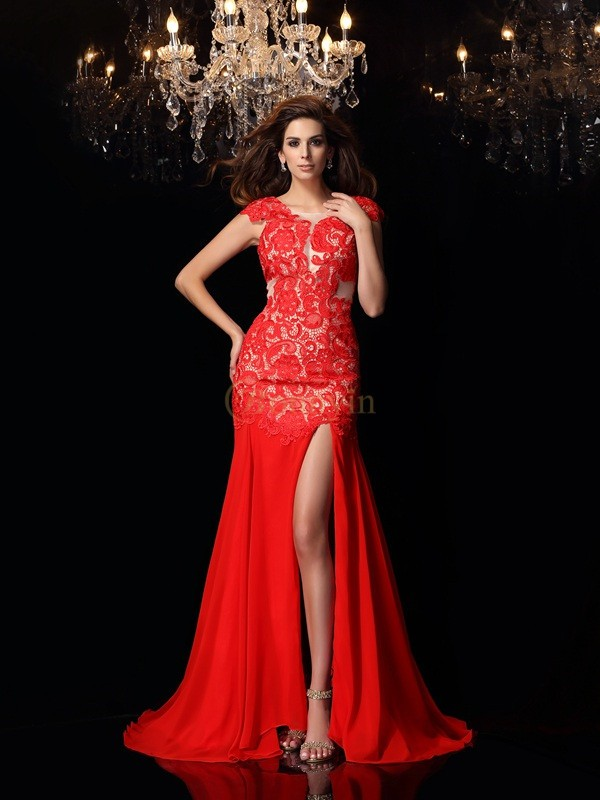 Red Chiffon High Neck Trumpet/Mermaid Sweep/Brush Train Dresses