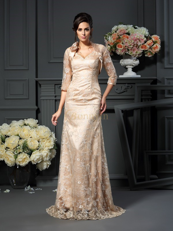Champagne Elastic Woven Satin V-neck A-Line/Princess Floor-Length Mother of the Bride Dresses