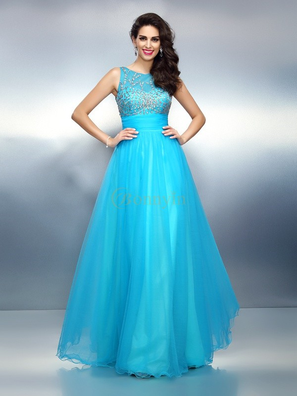 Blue Elastic Woven Satin Bateau A-Line/Princess Floor-Length Dresses