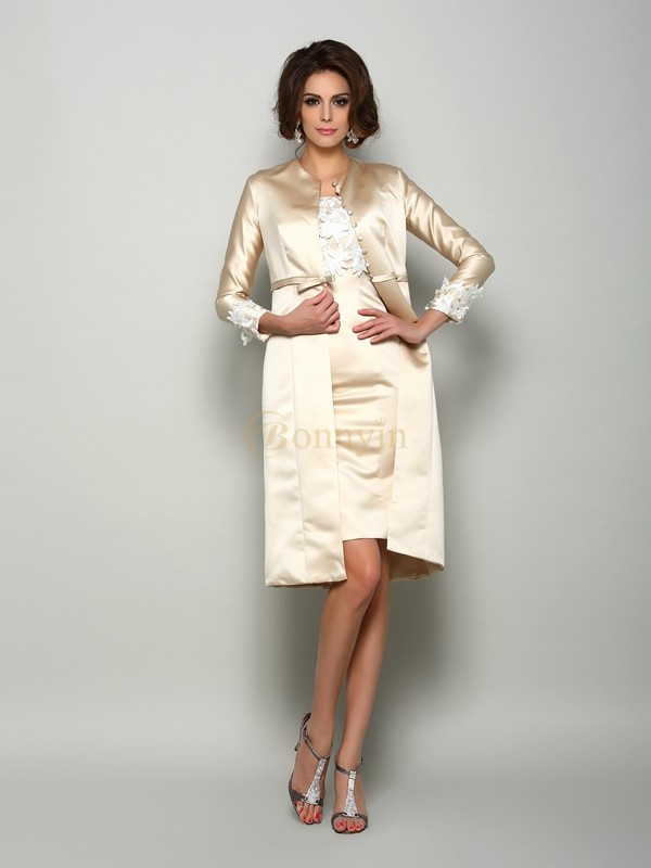 Ivory Satin Square Sheath/Column Knee-Length Mother of the Bride Dresses