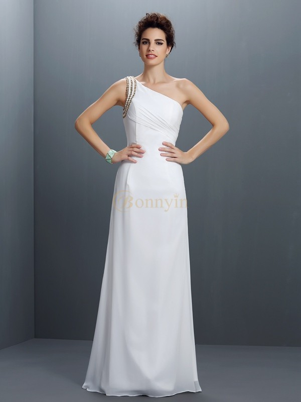 Ivory Chiffon One-Shoulder Sheath/Column Floor-Length Prom Dresses