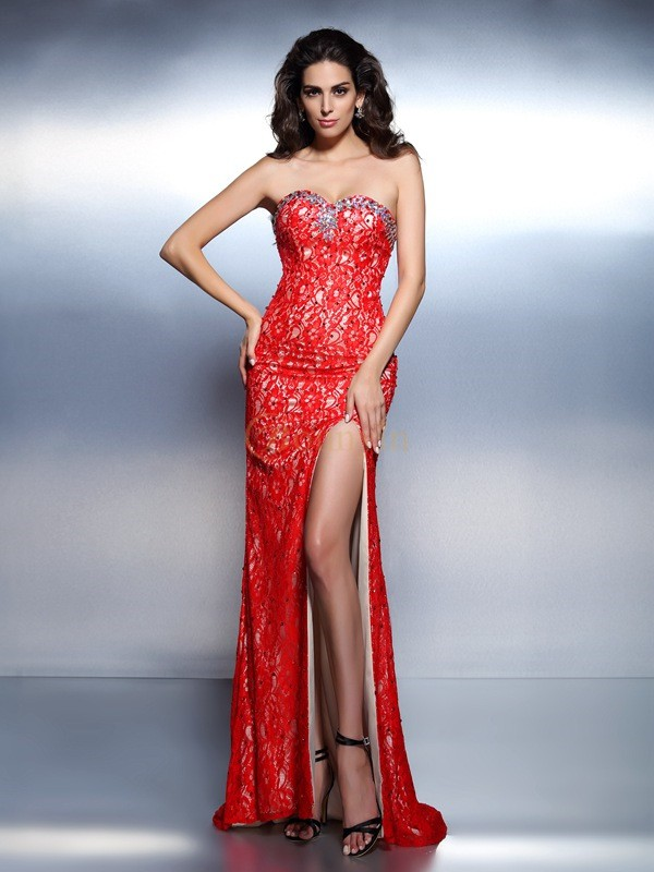 Red Lace Sweetheart Trumpet/Mermaid Floor-Length Dresses