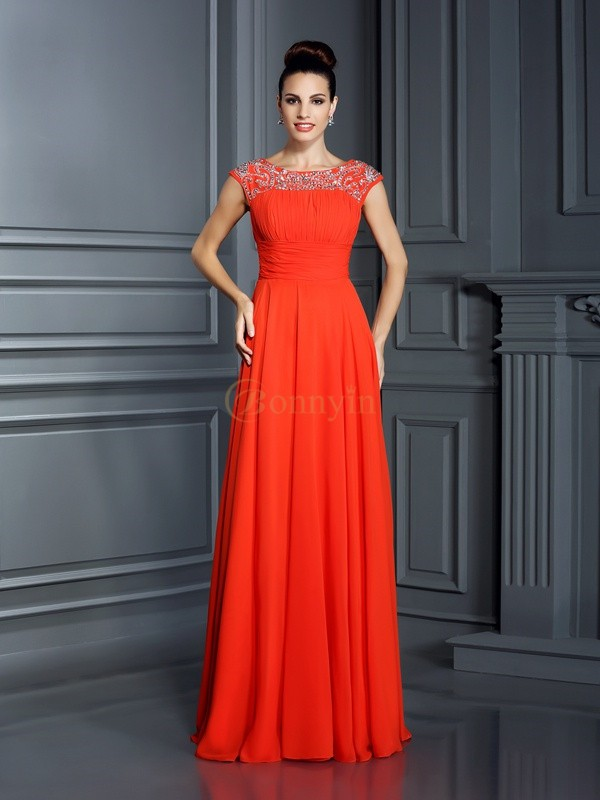 Orange Chiffon Bateau A-Line/Princess Floor-Length Dresses