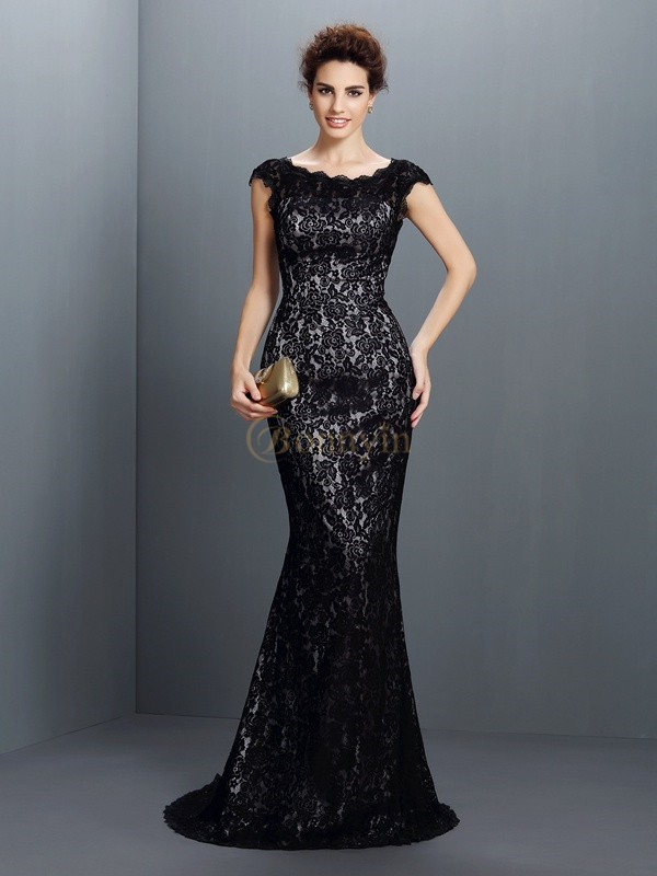 Black Lace Bateau Trumpet/Mermaid Sweep/Brush Train Dresses
