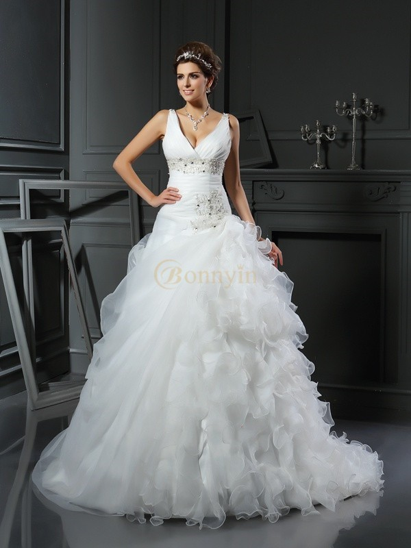 Ivory Organza V-neck Ball Gown Court Train Wedding Dresses