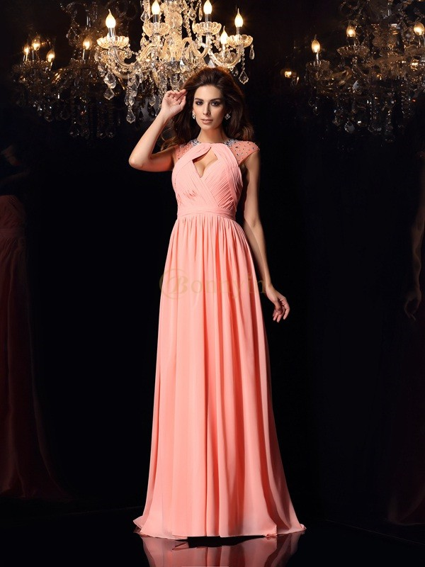 Watermelon Chiffon Scoop A-Line/Princess Sweep/Brush Train Dresses