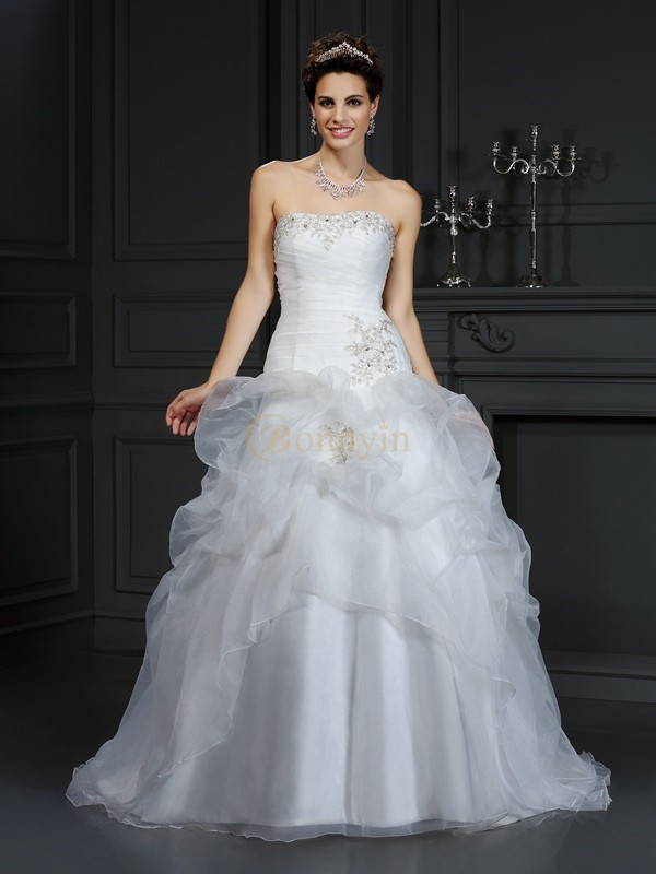 Ivory Organza Strapless Ball Gown Court Train Wedding Dresses