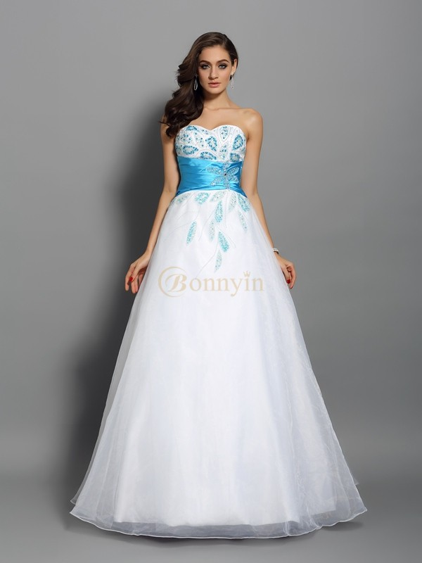 White Satin Sweetheart Ball Gown Floor-Length Prom Dresses