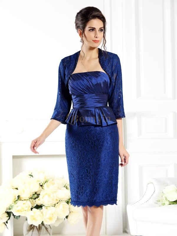 Royal Blue Taffeta Strapless Sheath/Column Knee-Length Mother of the Bride Dresses