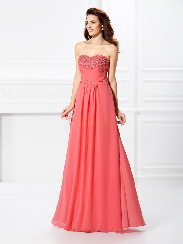 Watermelon Chiffon Sweetheart A-Line/Princess Floor-Length Dresses