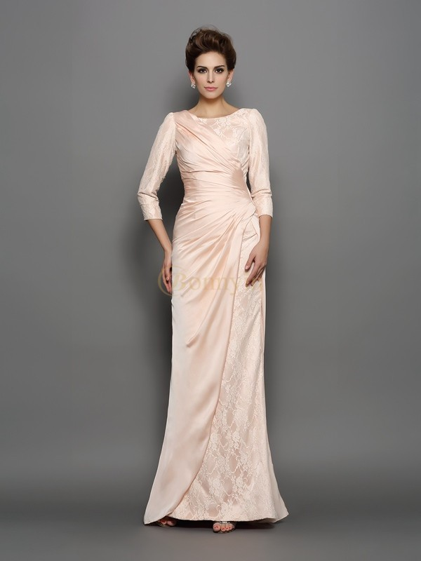 Pink Chiffon Bateau Trumpet/Mermaid Sweep/Brush Train Mother of the Bride Dresses