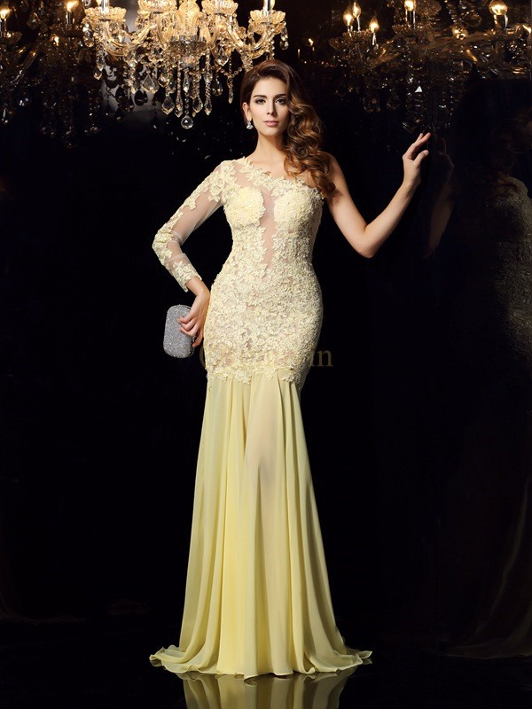 Yellow Chiffon One-Shoulder Trumpet/Mermaid Chapel Train Dresses