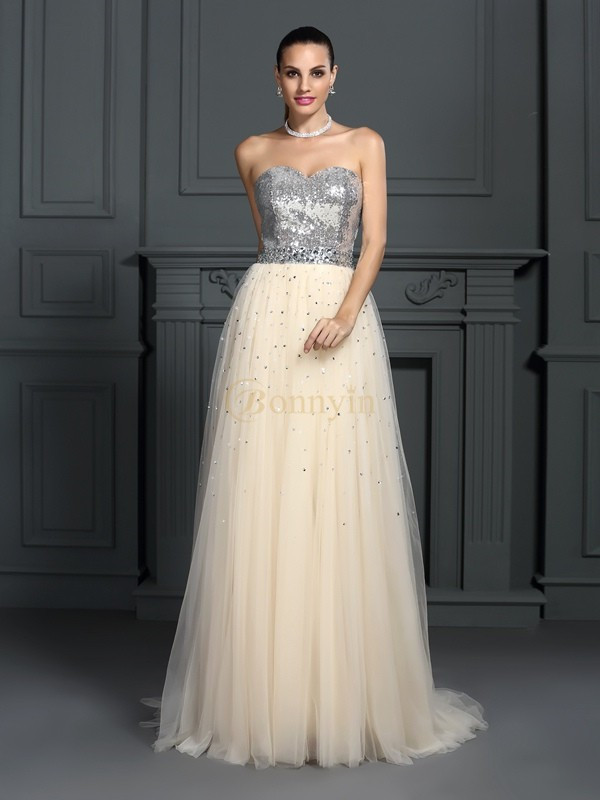 Champagne Lace Sweetheart A-Line/Princess Floor-Length Dresses