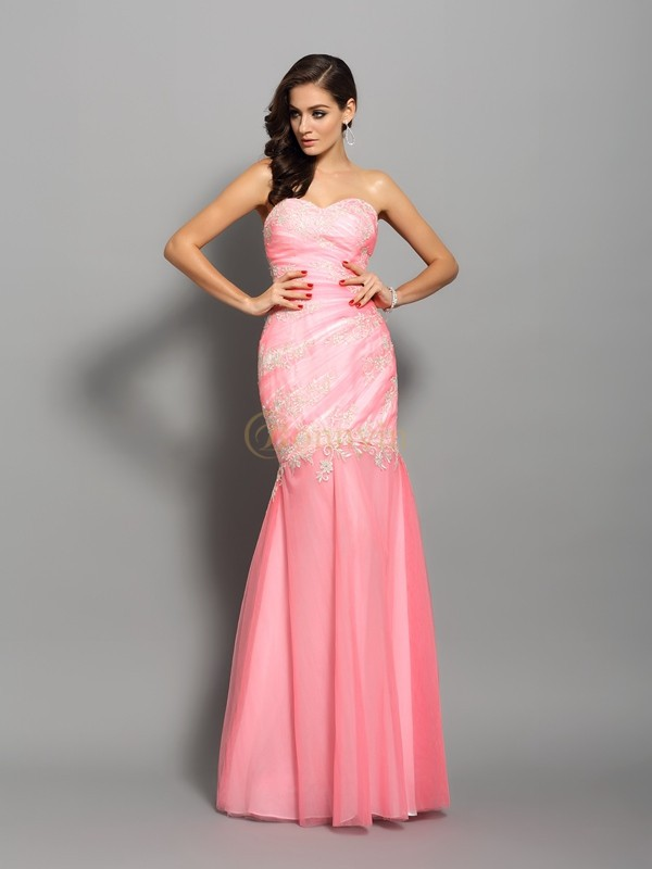 Watermelon Elastic Woven Satin Sweetheart Trumpet/Mermaid Floor-Length Dresses