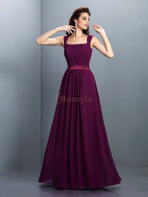 Grape Chiffon Square A-Line/Princess Floor-Length Bridesmaid Dresses