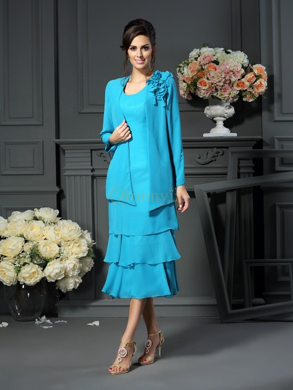 Blue Chiffon Scoop A-Line/Princess Tea-Length Mother of the Bride Dresses