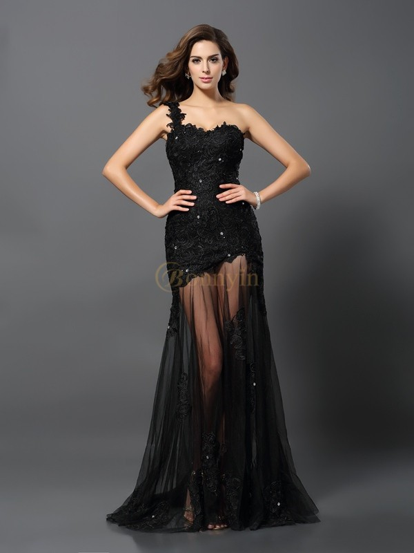 Black Lace One-Shoulder Sheath/Column Sweep/Brush Train Dresses