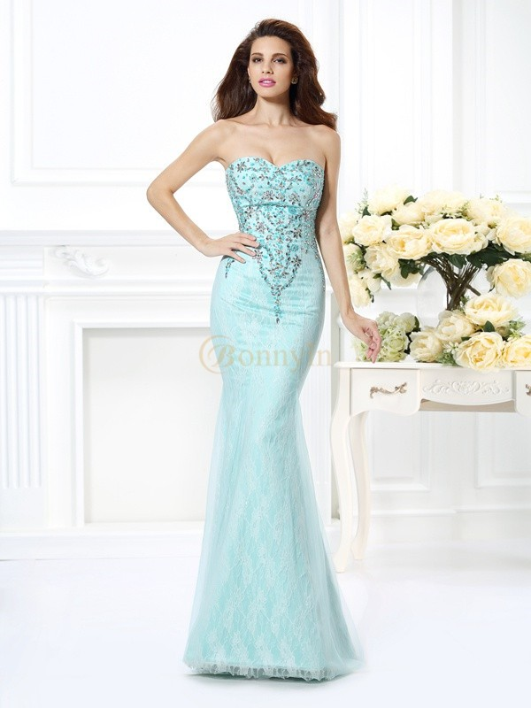 Light Sky Blue Net Sweetheart Trumpet/Mermaid Floor-Length Dresses