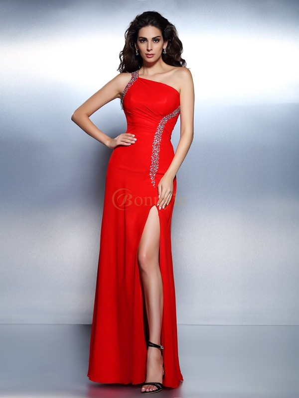 Red Chiffon One-Shoulder Trumpet/Mermaid Floor-Length Dresses