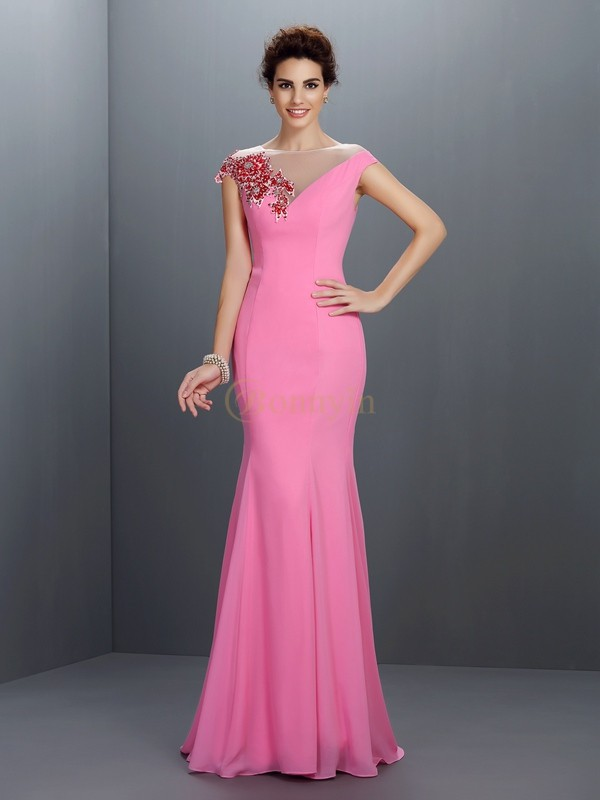 Pink Chiffon Bateau Trumpet/Mermaid Sweep/Brush Train Dresses