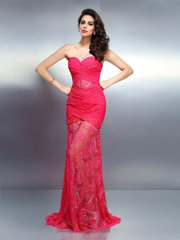 Pink Chiffon Sweetheart Trumpet/Mermaid Sweep/Brush Train Dresses
