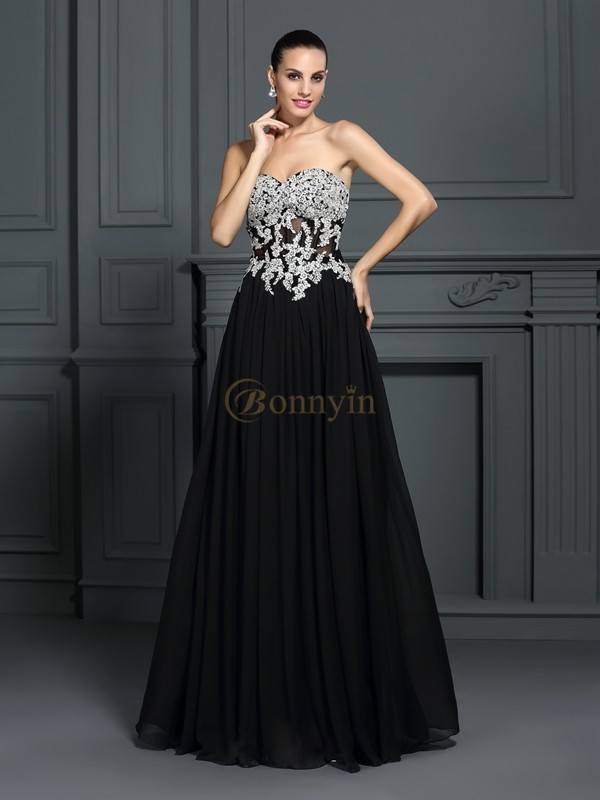 Black Chiffon Sweetheart A-Line/Princess Floor-Length Dresses
