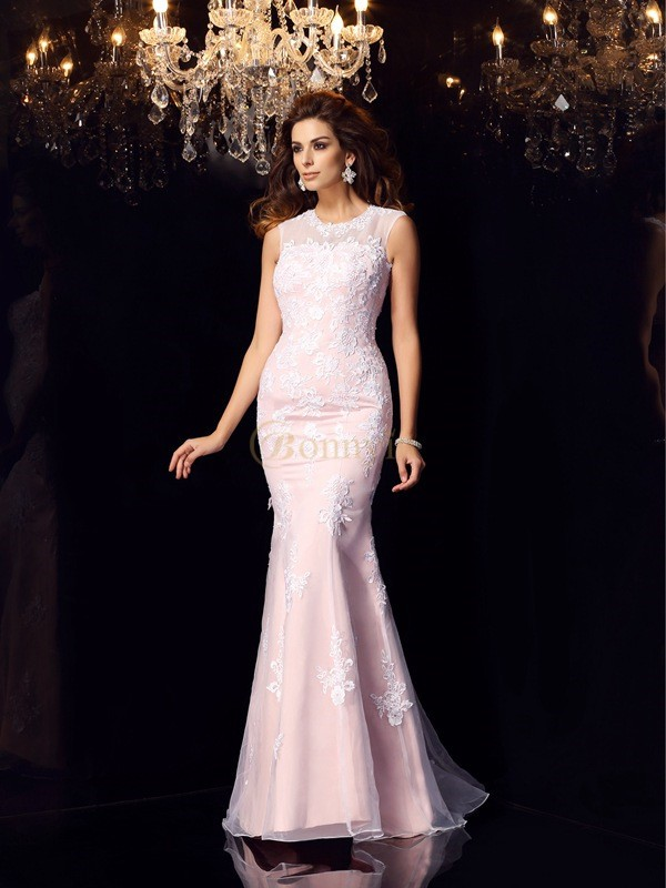 Pink Satin Scoop Trumpet/Mermaid Floor-Length Dresses