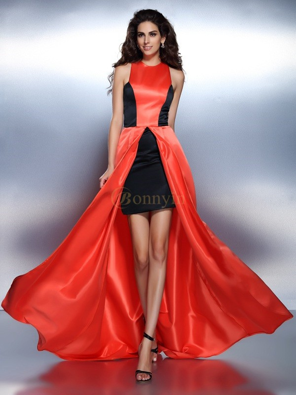 Orange Satin High Neck A-Line/Princess Floor-Length Dresses