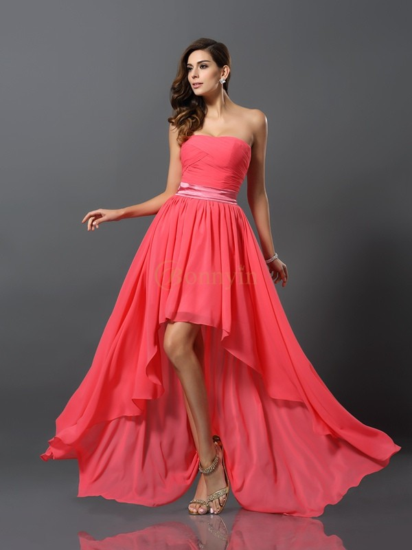 Watermelon Chiffon Sweetheart A-Line/Princess Asymmetrical Bridesmaid Dresses