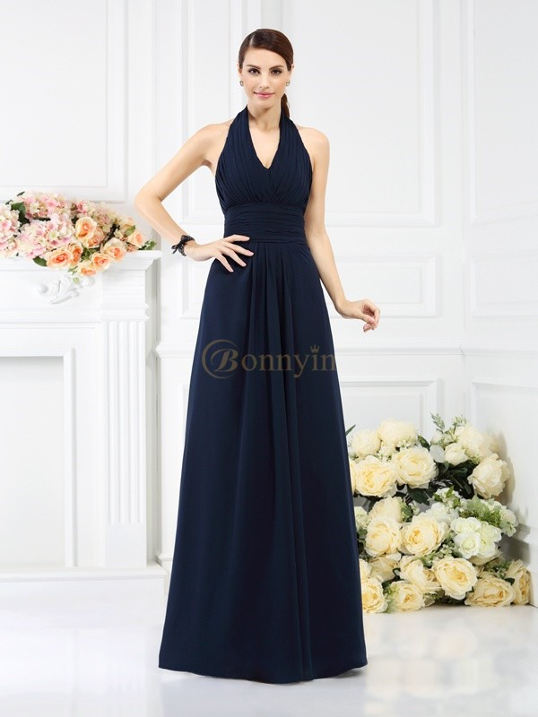 Dark Navy Chiffon Halter A-Line/Princess Floor-Length Bridesmaid Dresses