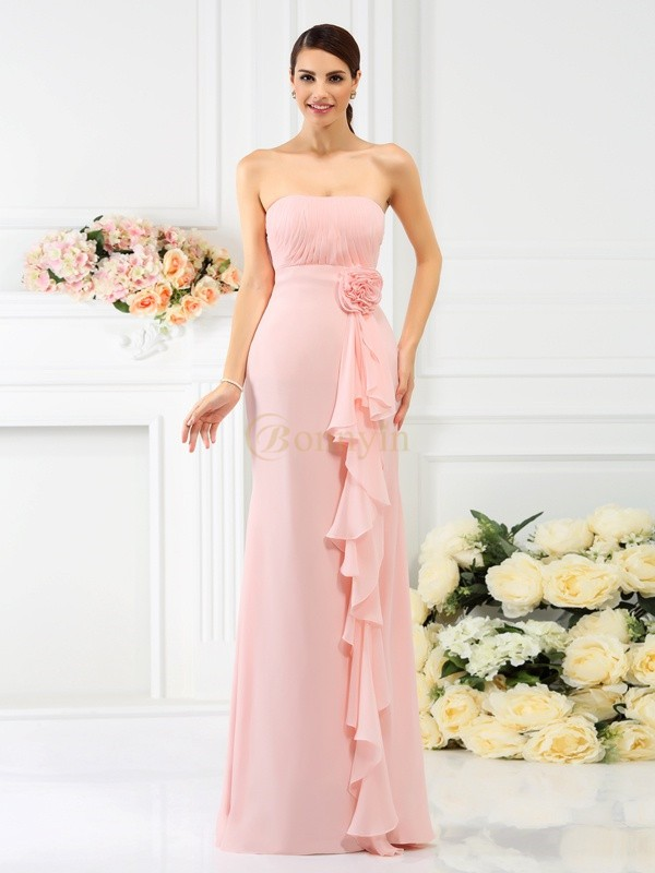 Pink Chiffon Strapless Sheath/Column Floor-Length Bridesmaid Dresses