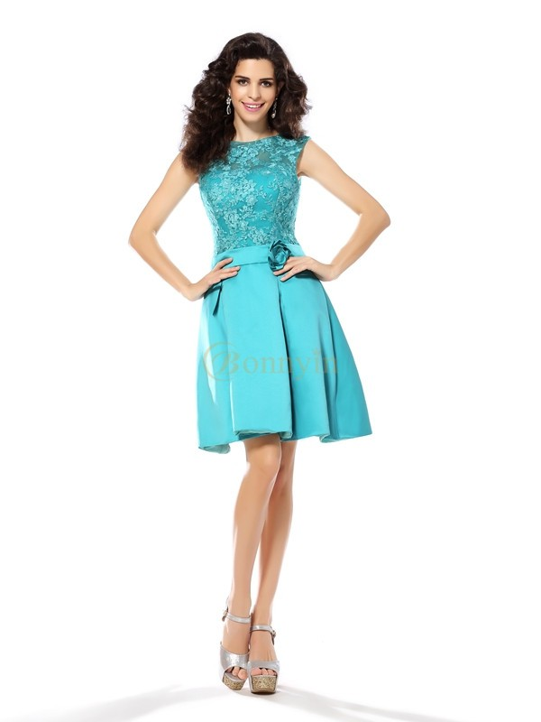 Blue Satin Scoop A-Line/Princess Knee-Length Dresses