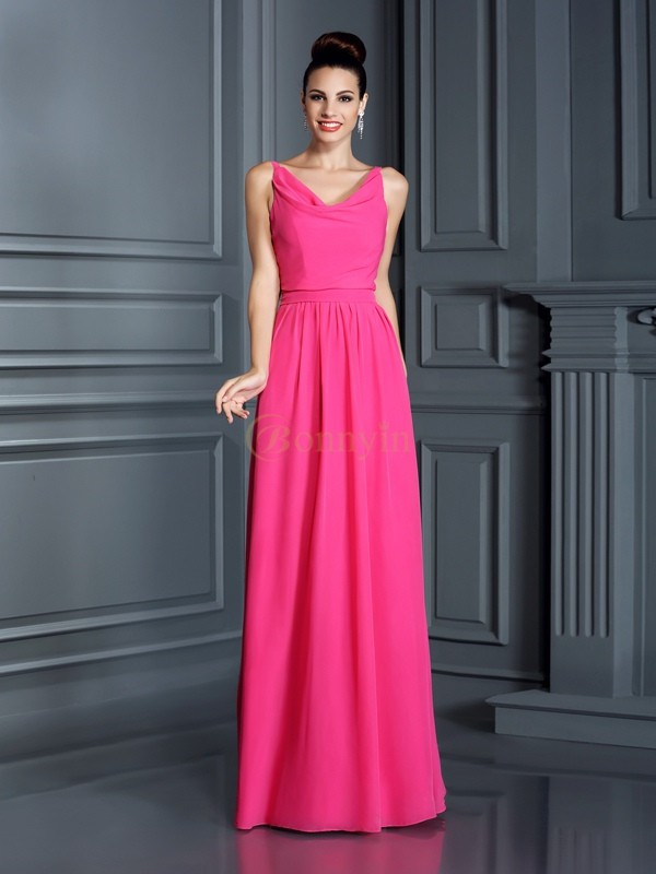 Fuchsia Chiffon Spaghetti Straps A-Line/Princess Floor-Length Bridesmaid Dresses