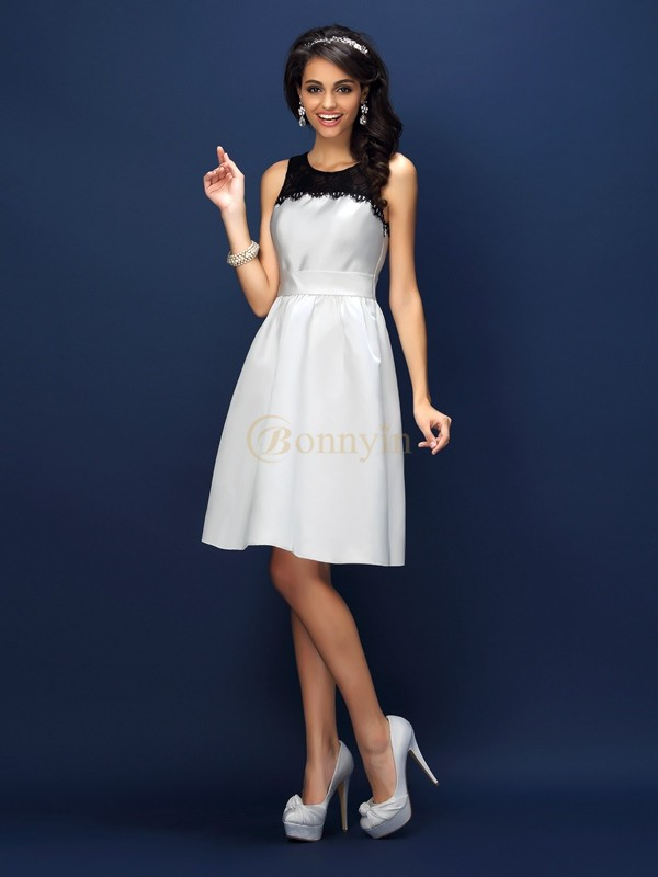 White Satin Bateau Sheath/Column Knee-Length Bridesmaid Dresses