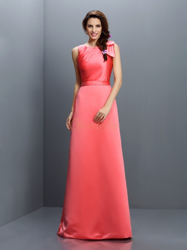 Watermelon Satin Bateau Sheath/Column Floor-Length Bridesmaid Dresses