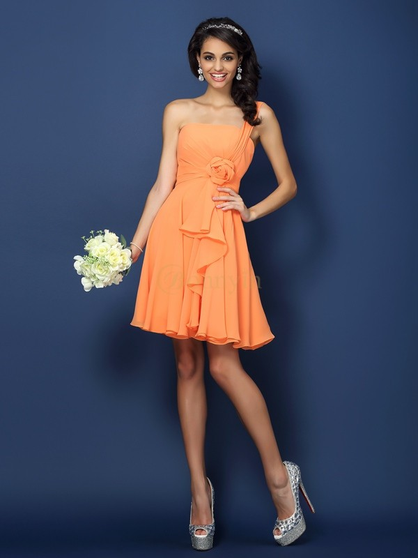 Orange Chiffon One-Shoulder A-Line/Princess Short/Mini Bridesmaid Dresses