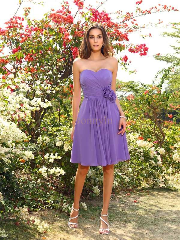 Lilac Chiffon Sweetheart A-Line/Princess Knee-Length Bridesmaid Dresses