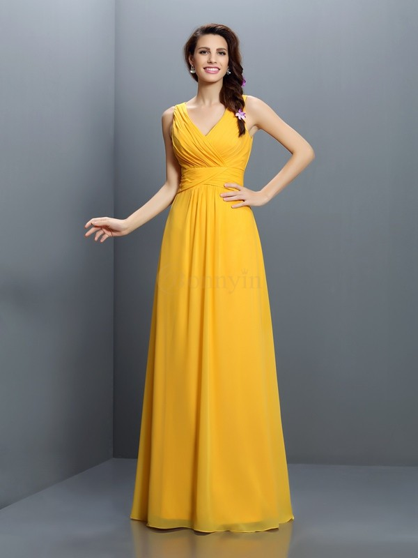 Yellow Chiffon V-neck A-Line/Princess Floor-Length Bridesmaid Dresses