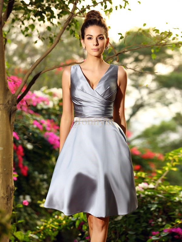 Silver Satin V-neck A-Line/Princess Knee-Length Bridesmaid Dresses