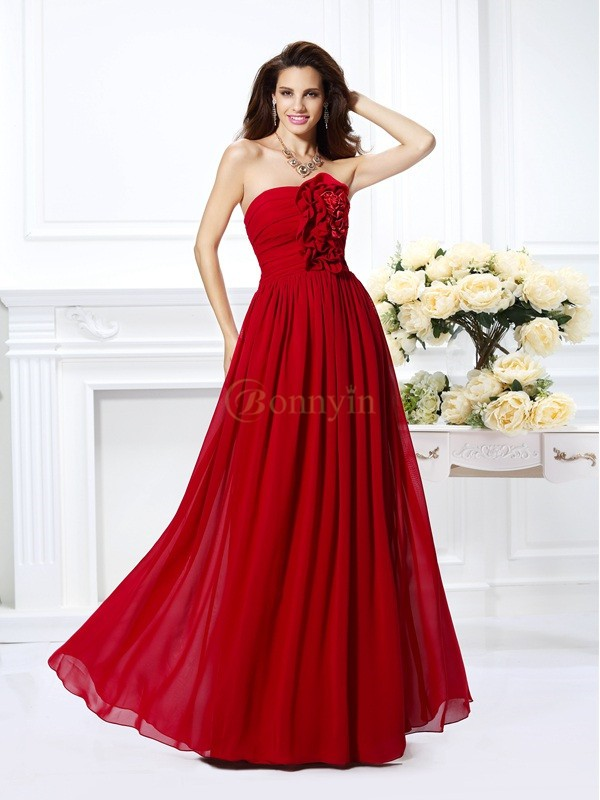 Red Chiffon Strapless A-Line/Princess Floor-Length Bridesmaid Dresses