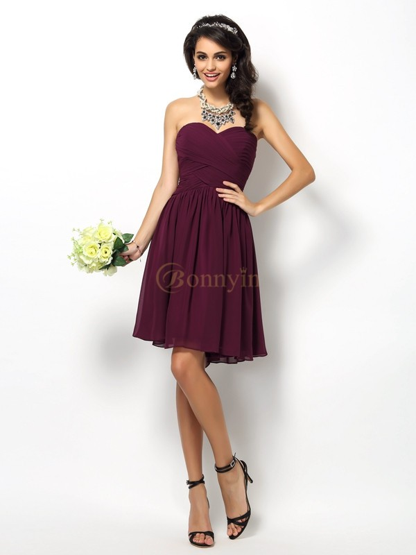 Lilac Chiffon Sweetheart A-Line/Princess Short/Mini Bridesmaid Dresses
