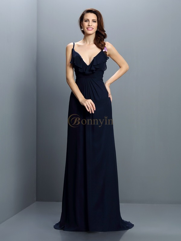 Dark Navy Chiffon Spaghetti Straps A-Line/Princess Sweep/Brush Train Bridesmaid Dresses