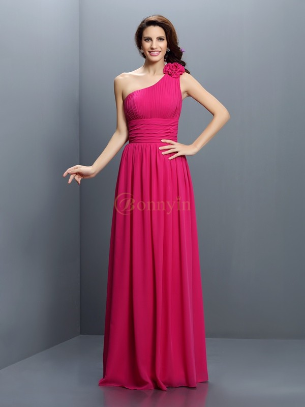Fuchsia Chiffon One-Shoulder A-Line/Princess Floor-Length Bridesmaid Dresses