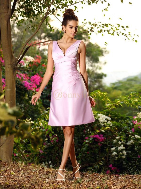 Pink Satin V-neck A-Line/Princess Knee-Length Bridesmaid Dresses