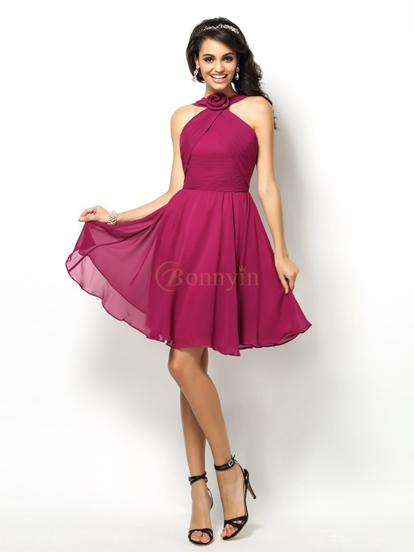 Fuchsia Chiffon High Neck A-Line/Princess Short/Mini Bridesmaid Dresses