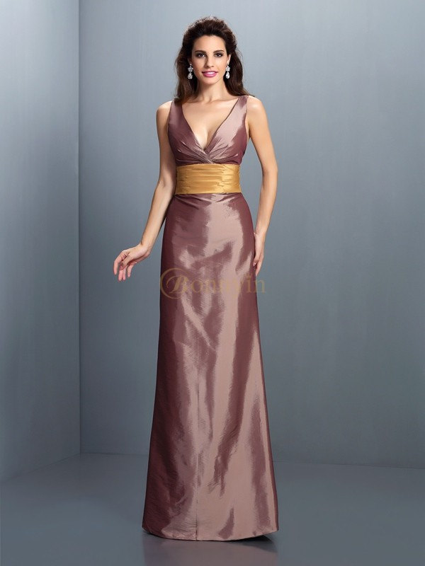 Brown Taffeta V-neck Sheath/Column Floor-Length Evening Dresses