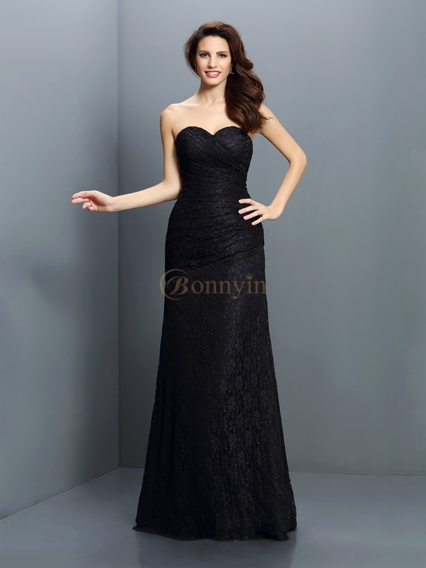 Black Satin Sweetheart A-Line/Princess Floor-Length Bridesmaid Dresses