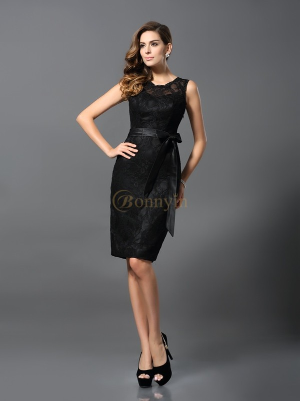 Black Satin Jewel Sheath/Column Knee-Length Dresses