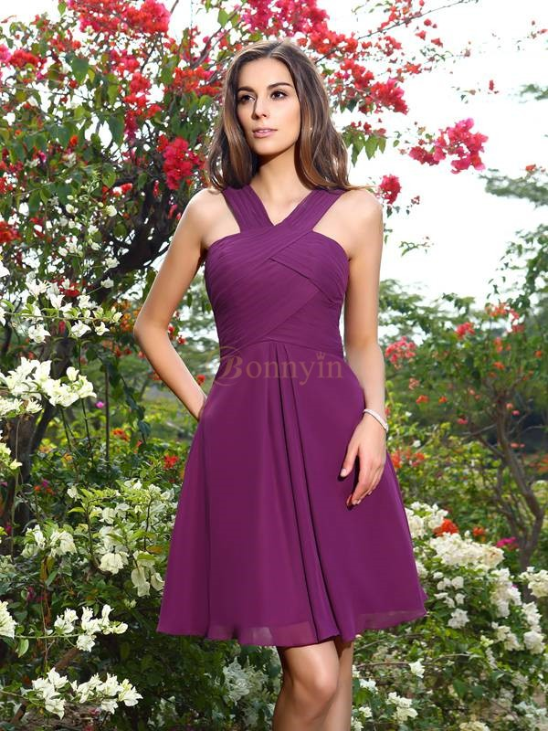 Grape Chiffon Straps A-Line/Princess Knee-Length Bridesmaid Dresses