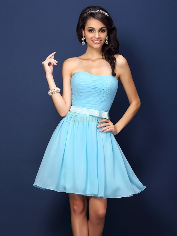 Light Sky Blue Chiffon Strapless A-Line/Princess Short/Mini Bridesmaid Dresses
